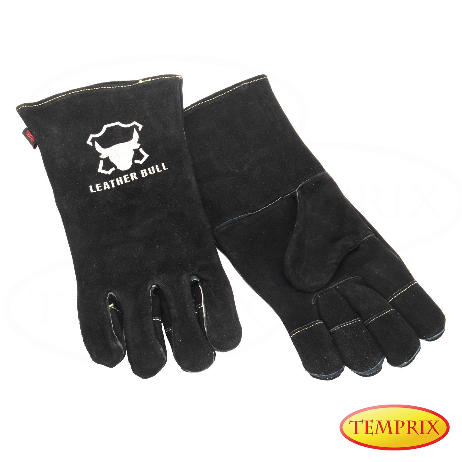 Grillhandschuhe Handschuhe Ofenhandschuhe Kamin Hitzebeständig Ofen Leder BBQ S
