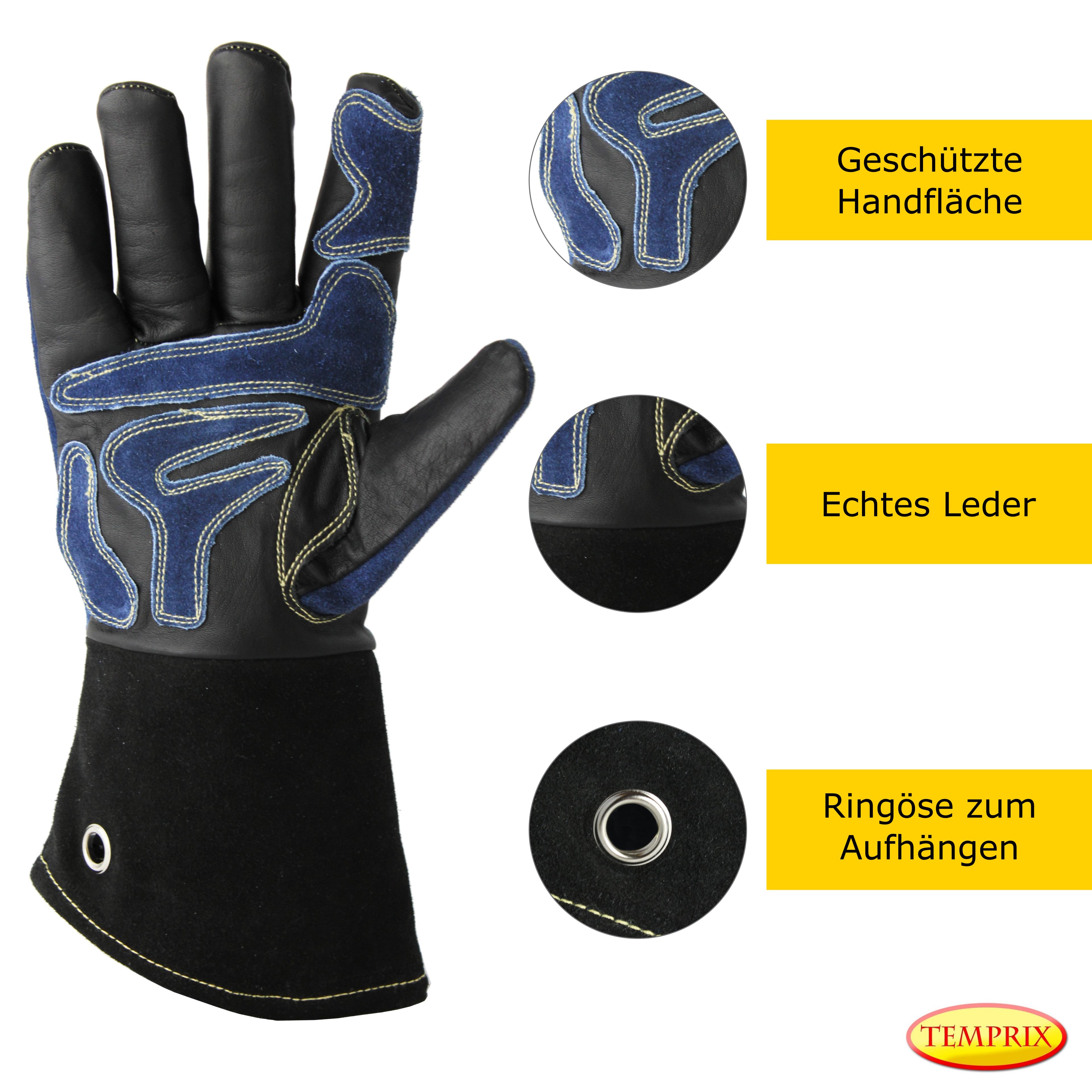 Grillhandschuhe Kaminhandschuhe Back Handschuhe Echtleder hitzebeständig Premium